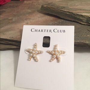 Starfish Gold Tone Pearl Earrings